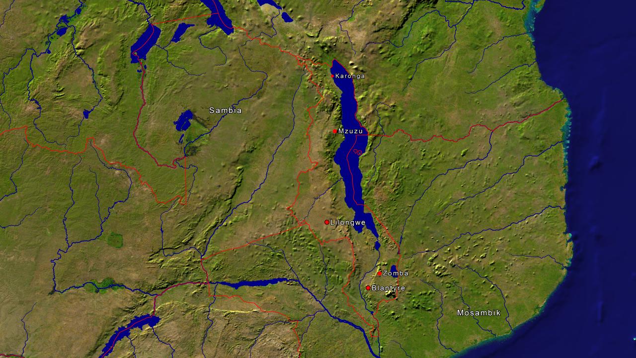 Lage von Malawi